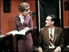 Prunella Scales as Sybil Fawlty and John Cleese as Basil Fawlty