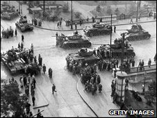 Soviet tanks on Hungary's streets in 1956
