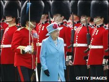The Queen and the Duke of Edinburgh (left) inspect the guards at Windsor Castle