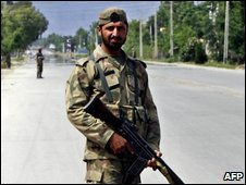 Pakistani soldier in Mingora
