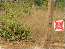 Minefields near the camps