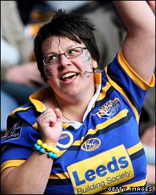 A Leeds fan dances a jig of delight at Murrayfield