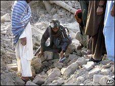 Rubble of destroyed village in Farah province