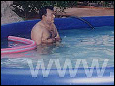 This picture purportedly shows Velupillai Prabhakaran in a swimming pool 