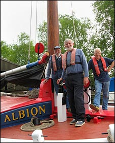 Crew aboard the Norfolk Wherry Albion