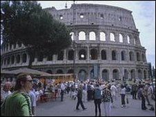 Tourists outside the Colosseum in Rome