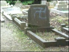 Swastika daubed on headstone