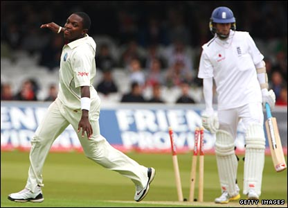 Edwards takes his sixth wicket of the match by removing Onions