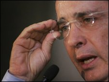 File photo of President Alvaro Uribe