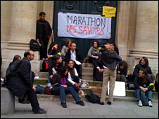 Student protest outside the Sorbonne
