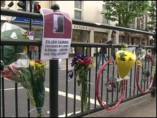Tributes to Eilidh Cairns on railings