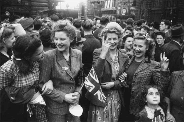 Crowds celebrating VE day on the streets of London.