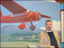 John Thompson in the Amelia Earhart museum, Derry