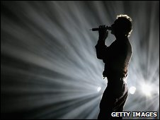 Chris Martin from Coldplay on stage