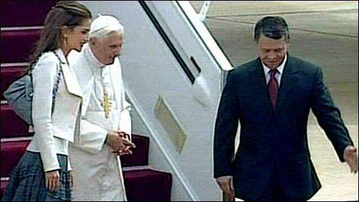 Pope Benedict XVI arrives at Amman's Queen Alia airport