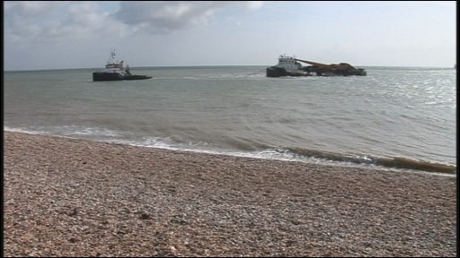 The barge Goliath secured off Walmer