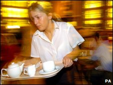 A waitress in a bar