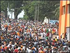 Fans outside the stadium before the tragedy in Ivory Coast