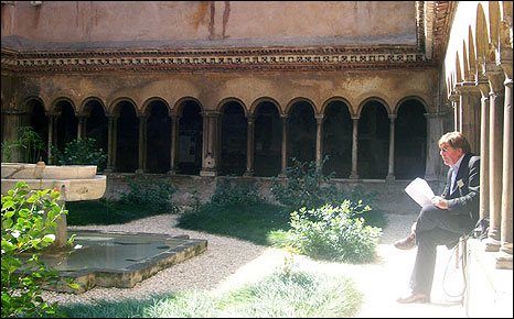 Edward Stourton in the cloister Convent of the Quattro Coronati