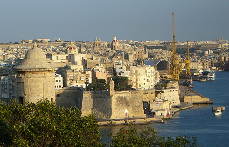 Valletta city centre and harbour