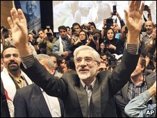 The leading reformist Iranian presidential hopeful, Mir-Hossein Mousavi