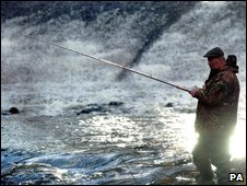 Salmon fishing on the river Liffey