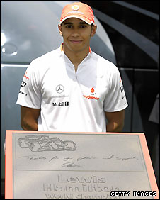 Lewis Hamilton was honoured at the Circuit de Catalunya near Barcelona