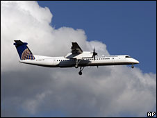 A commuter plane operated by regional airline Continental Connection