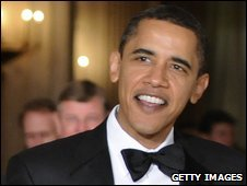 File photo of Barack Obama at a black tie dinner at the White House