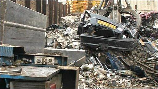 Car in scrapyard