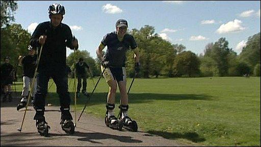 Mike Bushell with rollerskier Karolina Bicova