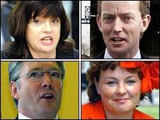 [clockwise from top left] Barbara Follett, Greg Barker, Margaret Moran, Phil Hope