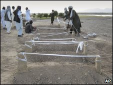 Afghans in Bala Baluk, Farah Province, mark out graves after the fighting, 5 May