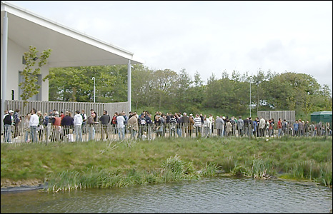 Queue of people outside Technium