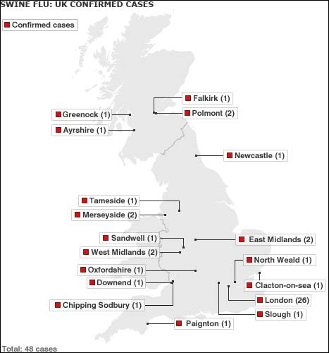 Map of outbreak in UK