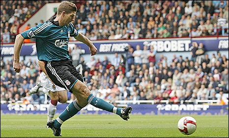 Steven Gerrard slots in Liverpool's first at West Ham