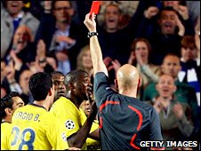 Eric Abidal receives his marching orders at Stamford Bridge