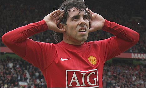Man Utd striker Carlos Tevez after scoring for his side and putting them 2-0 up against Man City