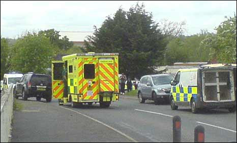Emergency vehicles outside Withybeds Gypsy Camp
