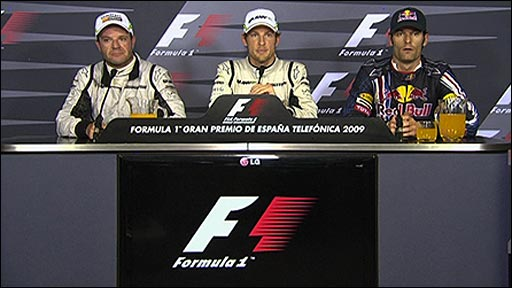 Rubens Barrichello, Jenson Button and Mark Webber