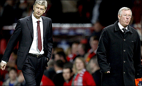 Arsenal boss Arsene Wenger and his Manchester United counterpart Sir Alex Ferguson
