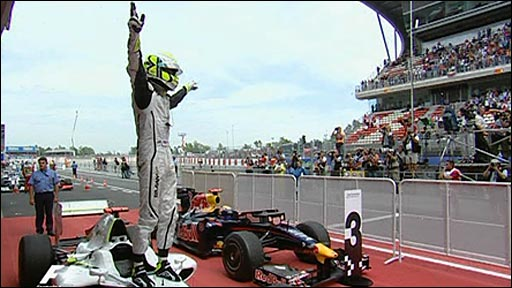 Jenson Button celebrates winning in Spain