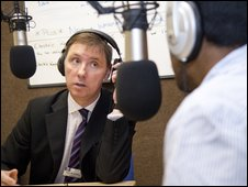 Governor Paul McDowell being interviewed in the ERB studio