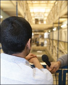 A Brixton prisoner being interviewed on a wing