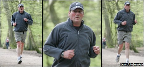 Tony Hadley jogging in London