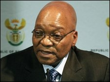 South African president Jacob Zuma after his inauguration on 10 May 2009
