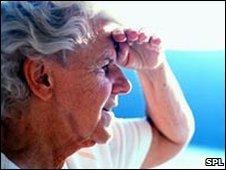 Elderly woman in the sunshine
