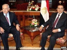 Benjamin Netanyahu and Hosni Mubarak in Sharm el-Sheikh