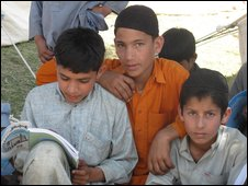Makeshift school for boys at a refugee camp in Swabi