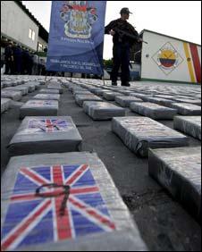 Blocks of seized cocaine